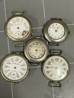 5 Vintage Henry Moser WW1 Trench Watches for Repair
