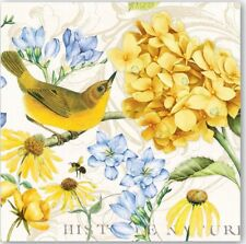 MDW-TWO (2) Paper Luncheon Napkins for Paper Crafts, Birds, Yellow Hydrangea