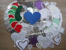 CRAFT CLEAROUT 2-  ASSORTED DIE CUT EMBELLISHMENTS  - HEARTS/LABELS/FRAMES ETC