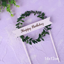 "Leaf Wreath ""Happy Birthday"" Cake Topper Dessert Decor for Birthday Party ATAU"