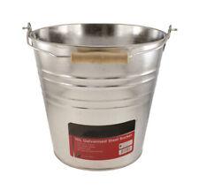 More details for 10l heavy duty galvanised steel metal bucket water coal fire w wooden handle uk