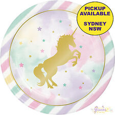 UNICORN SPARKLE PARTY SUPPLIES 8 LARGE BIRTHDAY LUNCH FOIL STAMPED PLATES