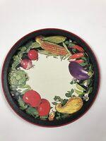"Vintage Potpourri Press Metal Tray Summer Harvest 1993 Red Black Veggies 13.5"""