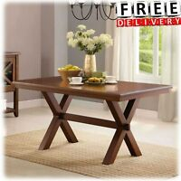 Wood Dining Table Rectangle Kitchen Solid Brown Home Office X Legs Farmhouse