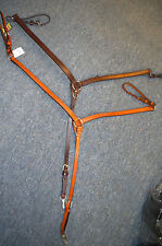 Horse breast collar leather western oakbark  horse brass fittings Tory leather