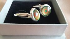 Hand-made Silver-Plated 12mm Round Green & Orange Patterned Cufflinks