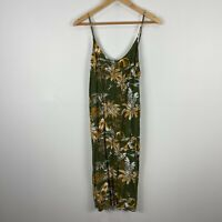H&M Womens Slip Dress 14 Green Floral Sleeveless Scoop Neck