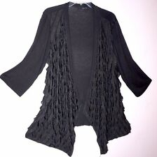Saint Tropez Cover up Black Tiered Ruffle Open Front Light Jacket Cardigan 1X