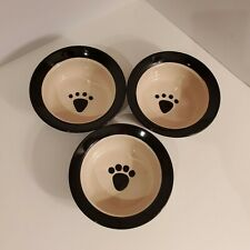 New listing Set of 3 Top Paw Ceramic Brown Dog Bowl with Paw Print and Brown Stripe