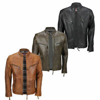 Mens Vintage Real Leather Brown Black Biker Zipped Pockets Casual Fitted Jacket