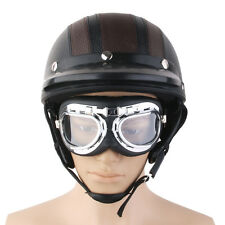 Leather Motorcycle Motorbike Open Face Helmet Visor with Goggles - Brown
