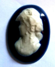 NOS Antique Vintage French France Large Cobalt Blue & White Cameo Stone #O604