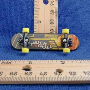 Huck Doll Fingerboard OKC Metal Skateboard Discontinued yellow wheel orange gray