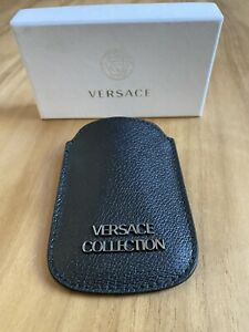 Versace Black Leather Phone Case/Sleeve W Versace Logo - Comes W Versace Box