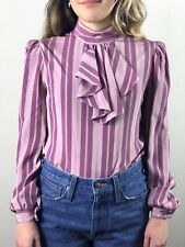 Vintage 70s Mauve Ruffle Blouse Striped Charlie's Angels Style Work Date Fall