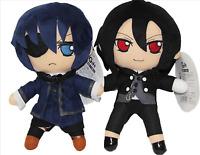 """2pcs  Sebastian & Ciel Kuroshitsuji Black Butler 10"""" Anime Plush Doll Toy"""
