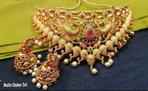 Indian Bollywood Yellow Gold Plated Chokar With Earrings Necklace Set Women Gift