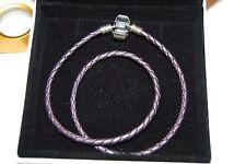 Pandora Purple Braided Double-Leather Charm Bracelet 35 cm, 590705CPE-D Small