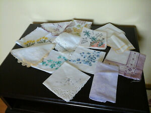 Vintage 14 lot mixed handkerchiefs