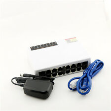 Fast Mini Ethernet 10/100Mbps Network Switch RJ45 LAN Hub Adapter 16 Ports White