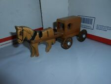 M - M Made in USA #2000 Small Hand Carved Wooden Amish Horse & Buggy DAMAGE/READ