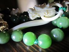 RARE VTG?10K Gold Chinese Green Jade Jadeite Bovine Dragon Clasp Carved Necklace