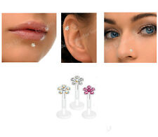 Bioflex - Lip Stud / Monroe / Tragus/ - Push In Crystal Flower,Rhinestone Bar