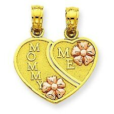 """14K Yellow and Rose """"Mommy Me"""" Breakable Hearts w/ Flower Pendant For Necklace"""