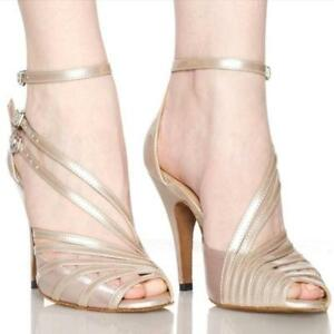 New Ladies Tango Latin Ballroom Dance SALSA Stilettos Shoes Peep Toe High Heels