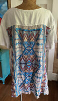 Johnny Was size XL linen Georgette back embroidered multi color boho chic LUXE