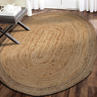 LR Resources Jute LR12035-NGY79OV Natural/Gray Oval 7 x 9 ft Indoor Area Rug, 7'
