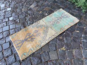 Turkish small rug, Handmade wool rug, Vintage rug, Doormat | 1,5 x 3,4 ft