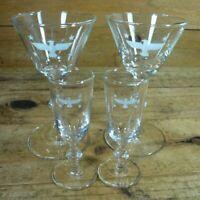4 Mid Century Eagle & Stars Glasses 2 Cocktail & 2 Aperitif Liqueur Glasses