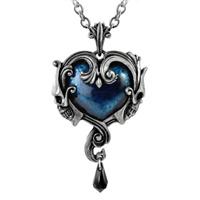ALCHEMY AFFAIRE DU COEUR SKULL HEART PENDANT Blue Gothic Pewter + FREE GIFT BOX