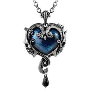 ALCHEMY AFFAIRE DU COEUR SKULL HEART PENDANT Blue Gothic Pewter + VELVET POUCH