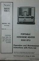 Sears Portable Kerosene Heater 9300 BTU Owner & Parts Manual Toyo KEROSUN Diesel