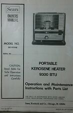 Sears Portable Kerosene Heater 9300 BTU Owner & Parts Manual Toyo KEROSUN Diesel