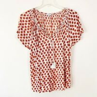 LUCKY BRAND White Red Floral Peasant Tassel Blouse Boho Plus Size size 1X