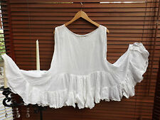 OSFA RITANOTIARA W MAGNOLIA BOW WHITE PEARL SLEEVELESS TOP TANK 10M COTTON SILK