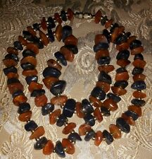 """Gorgeous Vintage Natural Carnelian & Agate Chips & Golden Beads Necklace 30.5"""""""