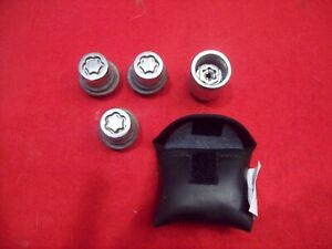 3 USED TOYOTA SIENA McGard Wheel Lug Nuts AND Key IN Black Faux Leather CASE