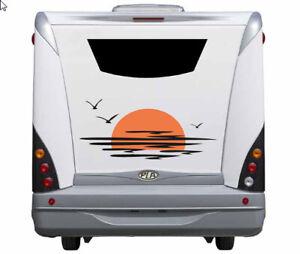 Aufkleber Wohnwagen Wohnmobil Camper Caravan Auto Sonnenuntergang Vögel 30cm