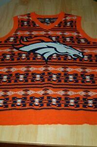 Denver Broncos Aztec Print Ugly Sweater Vest Medium NFL Team Apparel Vest