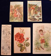 Set of 5 Victorian Coffee Advertising Cards (4 American, 1 Canadian) c. 1900