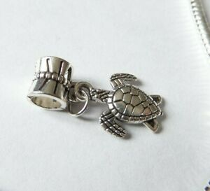 1 x Silver TURTLE Dangle Pendant Charm Bead European Charm Bracelet