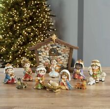 Hand Crafted Charming Small Character Baby Nativity Ornament Set With 13 Pieces