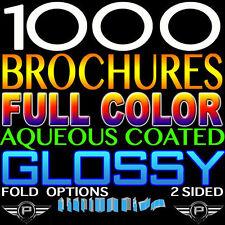 "CUSTOM PRINTED 1000 BROCHURE 8.5"" X 11"" FULL COLOR 2 SIDED 100LB GLOSSY FOLDED"