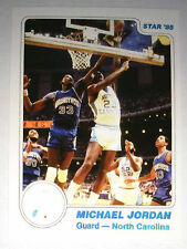 Michael Jordan 1985 Star North Carolina White Border Error logo Basketball Card