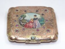 ITALIAN RENZO CASSETTI 800 SILVER RUBY JEWELED ENAMEL PAINTED COMPACT BOX
