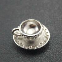 10pcs Vintage Antique Sliver 3D Coffee Cup Teacup Charms Pendant Jewelry Finding
